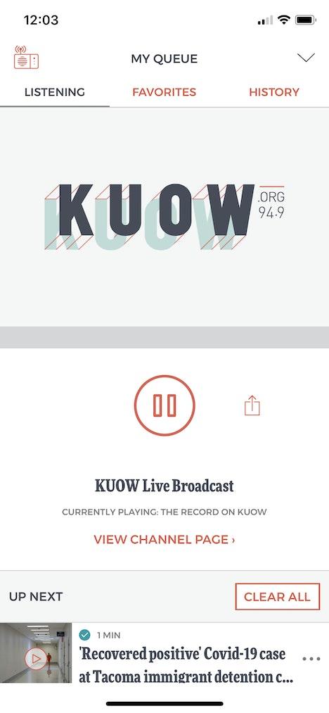 KUOW App Screen Listen Live