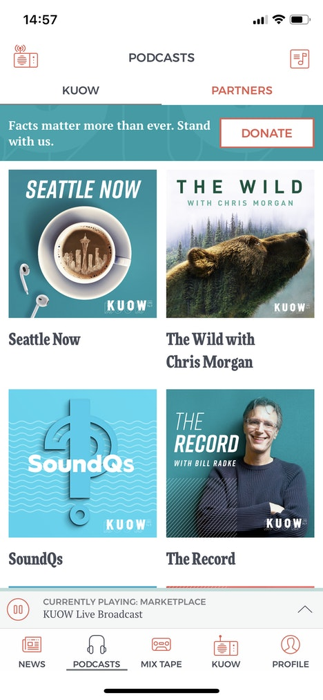 KUOW App Screen Podcasts
